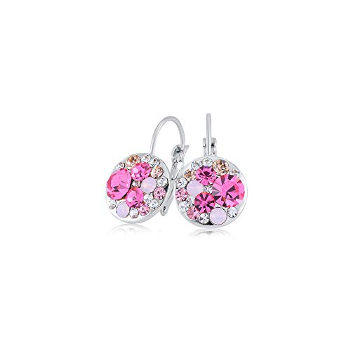 Color Ring Crystal Multi Swarovski - UPSERA Multi-color Round Lever-Back Earrings for Women Made with Swarovski Crystals Hypoallergenic Clip-On Pierced Drop Jewelry (Rose)