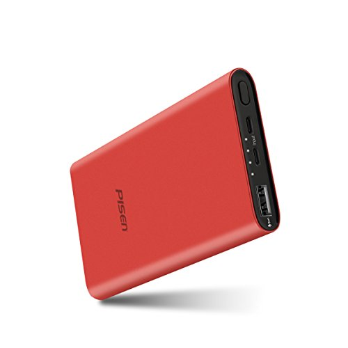 PISEN 10000mAh Power Bank Lightning and Micro USB Dual Input 2.4A Smart Output for iPhones, iPad, Samsung Smart Phones, Tablets and More (Lightning Input-red)