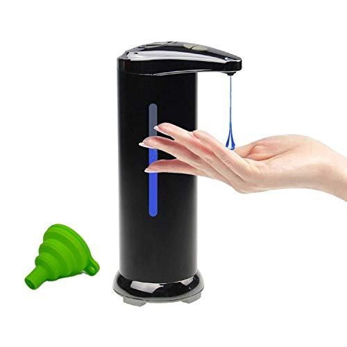 Automatic Soap Dispenser Touchless – Stainless Steel – Black – hands free motion sensor – waterproof for bathroom or…