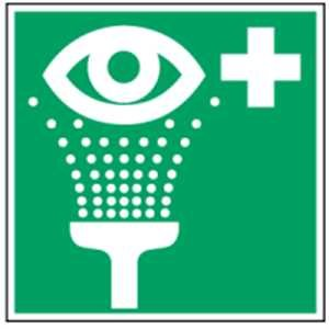 Cartel Resistente PVC - Escudo: el lavado de ojos, de acuerdo con ASR A