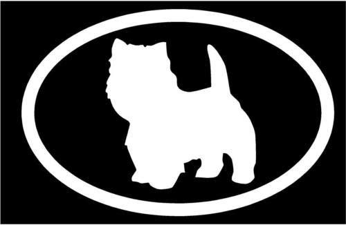 (White Vinyl Decal - West Highland Terrier Euro Dog Puppy pup Truck Sticker, Die Cut Decal Bumper Sticker for Windows, Cars, Trucks, Laptops, Etc.)