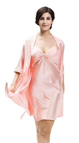NiSeng mujer pijama sleepwear satín conjuntos vestido de camison Rojo Caucho
