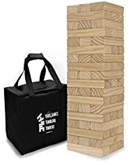 Yard Games Large Jr. Tumbling Timbers with Carrying Case | Starts at 21-Inches Tall and Builds to Over 3.5-Fee