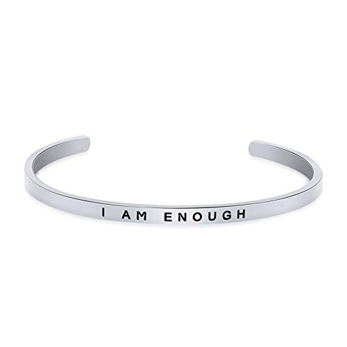 Inspirational Gift for Women Cuff Bangle Bracelet Inspirational Jewelry Engraved I am Enough (i am enough-si) (What I Am Bracelet Am I)