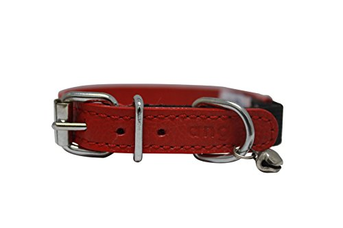 Image of Leather Cat Collar w Safety Elastic Stretch, 12