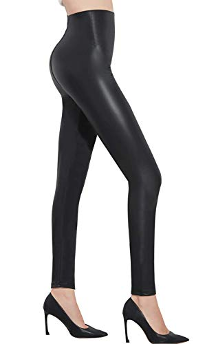Pelisy Womens Faux Leather High Waisted Leggings Stretchy Skinny Leather Pants Black Large from Pelisy
