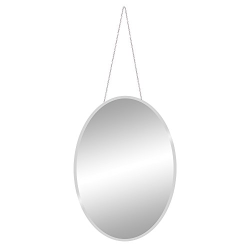 x27 Frameless Beveled Oval Mirror with Hanging Chain Wall, Silver ()