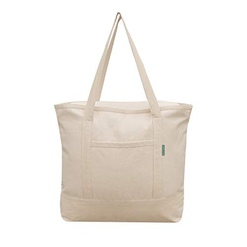 (Earthwise Reusable Grocery Bag 100% Cotton Canvas Large Heavy Duty Shopping Tote in Natural Zipper Closure Large 22 W x 16.5 H x 5.5 G)