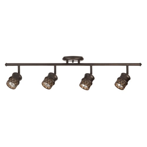 Bronze Track Kit (Globe Electric Norris 4-Light Adjustable Track Lighting Kit, Oil Rubbed Bronze Finish, Champagne Glass Track Heads, Bulbs Included, 59063)