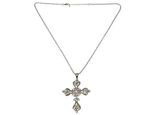 Alilang Aurora Borealis 4 Point Sharp Ice Crystal Rhinestone Holy Cross Pendant Necklace