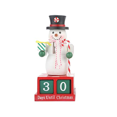 Toyvian Christmas Advent Calendar Tabletop Decoration Wooden Block Christmas Snowman Advent Calendar for Xmas Holiday Party Ornaments