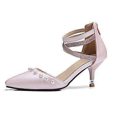 Talones de las mujeres Primavera Verano Otoño Otro PU oficina y carrera del vestido ocasional de tacón de aguja de la perla de la cremallera Negro Rosa Pink