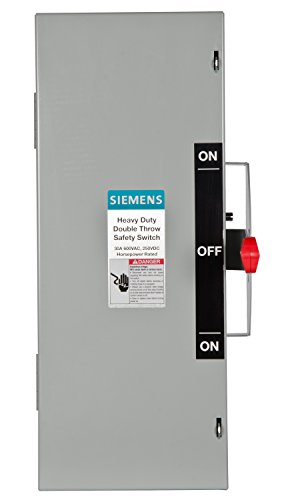 Wire Action Double (Siemens DTNF361 30-Amp 3 Pole 600-volt 3 Wire Non-Fused Double Throw Safety Switches)