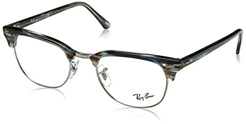(Ray-Ban RX5154 Clubmaster Square Eyeglass Frames, Blue Grey Striped/Demo Lens, 49 mm)