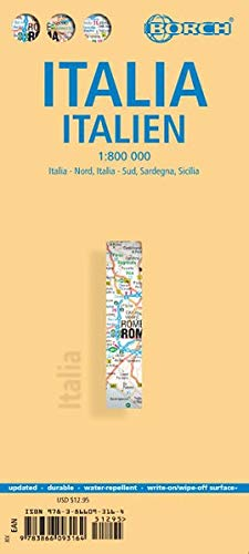Laminated Italy Road Map by Borch (English Edition)