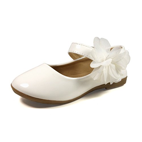 Nova Utopia Toddler Little Girls Flower Girl Dress Ballet Mary Jane Bow Flat Shoes,NF Utopia Girl NFGF061New White 12 ()