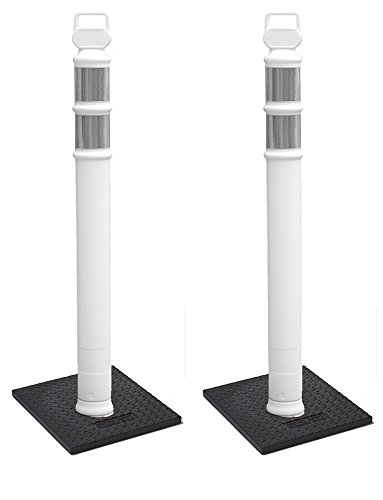"Cortina EZ Grab Delineator 45"" Post, 3"" Hip Collars with 10 lb Base, 03-747WRBC-2, White, 2 Pack"