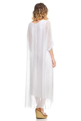 den mit sichtbarer Laura mit und Passform Kleid Langes V entspannter Ärmeln Ausschnitt Unterlage Moretti und Stickerei Weiß an Spitzendetail wqqafnxS0