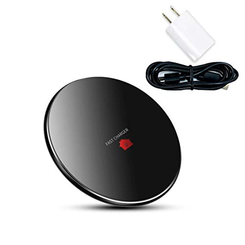Wireless Charger I Qi Enabled Charging Disc for Smart Android and Apple Devices I Fast Recharging and Portable I USB Power Cord and Adapter Included