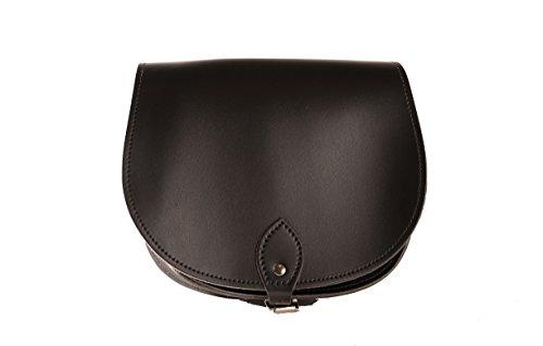 GlŠnzend Schwarz Echtes Leder-Sattel Crossbody Handtasche mit Wšlbungs-Verschluss und justierbarem BŸgel