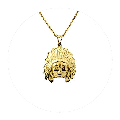 MR. BLING 10K Yellow Gold Native American Indian Head Pendant Charm (1.70
