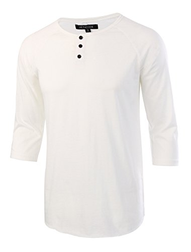 HETHCODE Men's Casual Raglan Fit Soft Baseball 3/4 Sleeve Henley T-Shirts Tee White XXL
