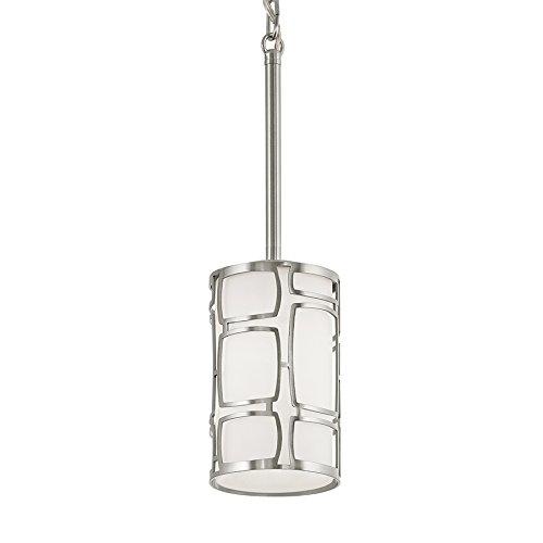Kichler Sabine Light 4.25-in Brushed Nickel Art Deco Mini Etched Glass Cylinder Pendant