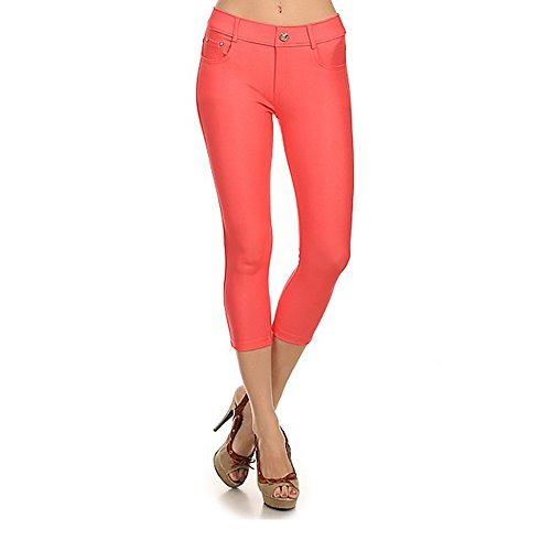 Women's Stretchy Skinny Jeggings Shorts & Capri Pull On Style Coral, Large