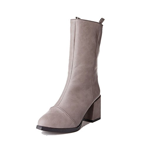 Allhqfashion Gray Heels Boots Solid Pull PU Low High top on Women's vgr8qv