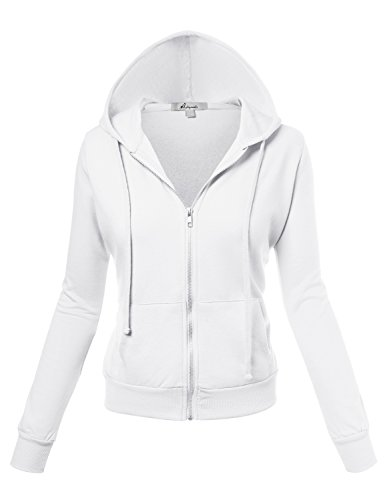 HATOPANTS Long Sleeve Inner Brushed Zip Up Hoodie Fleece Jackets Off WHI Small (Faux Fur Coat Limited Edition)