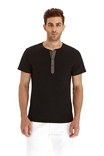 Mr.Zhang Men's Casual Slim Fit Short Sleeve Henley T-shirts Cotton Shirts