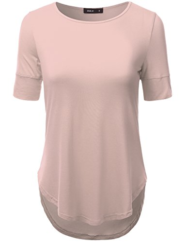 Doublju Women Long Sleeve Big Size Yoga Wear LIGHTPINK Loose Top3XL