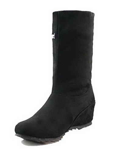 AgooLar Women's Pull-On Frosted Round-Toe Kitten-Heels Solid Boots Black