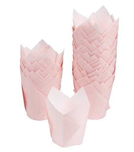 Tulip Cupcake Liners - 100-Pack Medium Baking Cups, Muffin Wrappers, Perfect for Birthday Parties, Weddings, Baby Showers, Bakeries, Catering, Restaurants, Baby Pink by Juvale