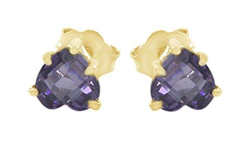 Christmas Sale Purple Simulated AlexandriteHeart Stud Earrings In 10k Solid Gold
