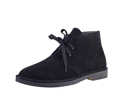 HooH Women And Men Leather Casual Ankle Boots Y68 Black Ie17B9q