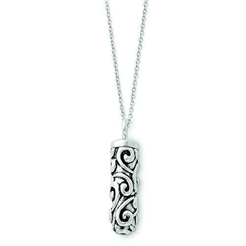 (Sterling Silver Antiqued Cylinder Remembrance Ash Holder 18in Necklace)