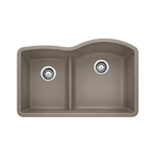 Blanco 441608 Diamond 1.75 Low Divide Under Mount Reverse Kitchen Sink, Large, Truffle (Undermount Bowl Reverse Sink)