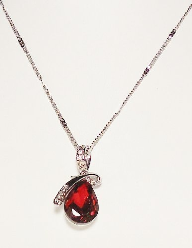 Necklace - Deep Red Eternal Love Teardrop Crystal Pendant Necklace - Kiki's Deep Red by kikisjewels (Image #3)