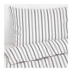 Ikea HÖSTÖGA Duvet Cover and Pillowcase, stripe, gray