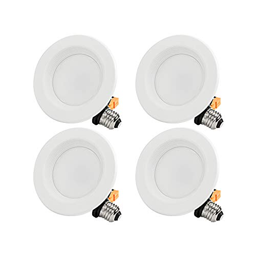 TORCHSTAR 4-Pack 4 Inch LED Downlight with Baffle Trim, Dimmable, 10W (65W Replacement), Retrofit LED Recessed Lighting Fixture, 2700K Soft White, CRI90+, Energy Star & ETL Listed LED Ceiling Light