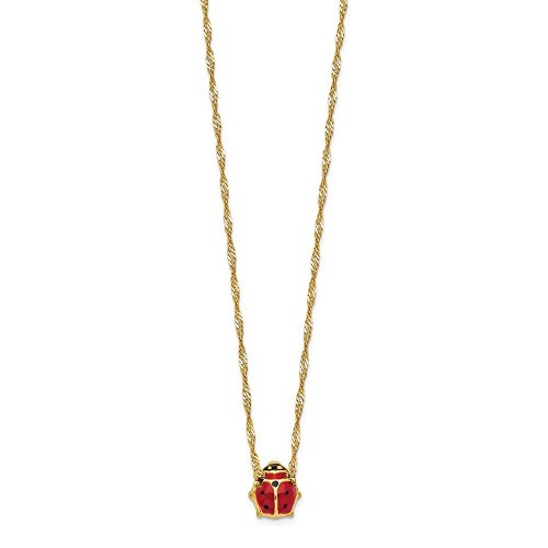 14k Yellow Gold Enameled Ladybug Chain Necklace Pendant Charm Animals/insect Fine Jewelry Gifts For Women For Her