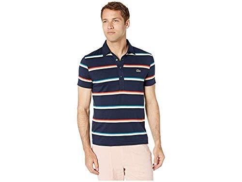 Lacoste Men's S/S Striped Light Jersey PIMA Cotton Polo Regular FIT, Navy Blue/Multi, Small