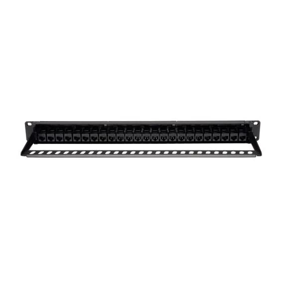 Tripp Lite 24-Port 1U Rackmount Cat6 Feedthrough Patch Panel, RJ45 Ethernet(N254-024) 4 24 PORT: Tripp Lite's Cat6 Feed-Through 24-port patch panel provides patching without punching down bulk wire to the back of the panel. CAT6/CAT5 PATCH PANEL: Cat6 RJ45 Jacks on both sides of the panel. CERTIFIED: Fully meets or exceeds Cat6 specifications - works with USOC, T568A, and T568B wiring.