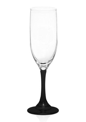 Black Stem Glass Champagne Flute 6oz
