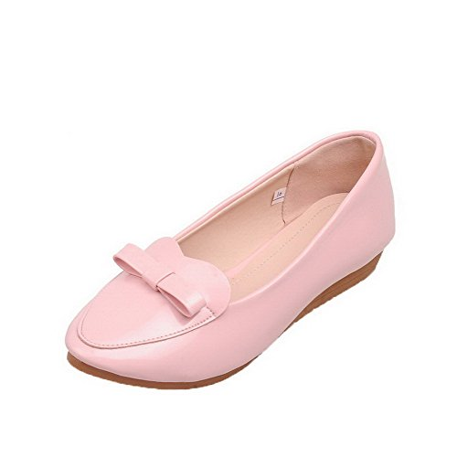 Odomolor Women's Solid Patent Leather Low-Heels Round-Toe Pull-On Pumps-Shoes, Pink, 36