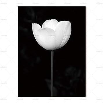 Cuadros modernos y simples de flores de estilo blanco y negro para la decoración del hogar 20X30cm