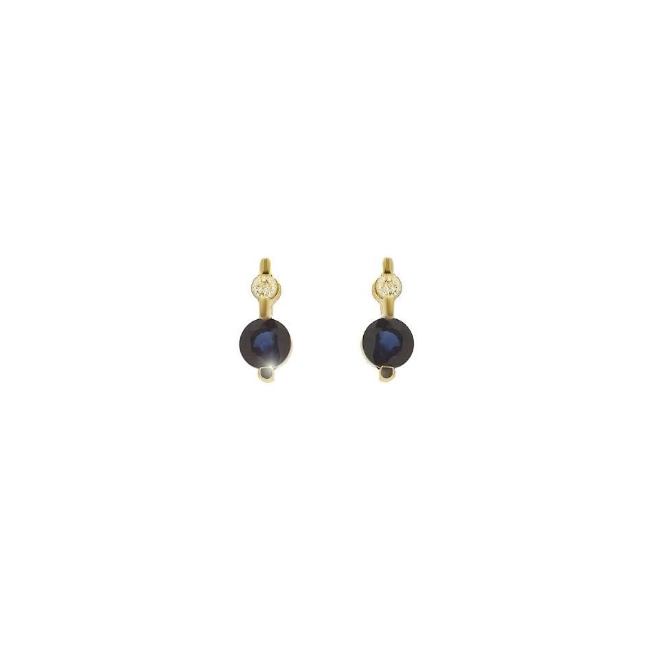 9ct Yellow Gold Sapphire & Diamond Stud Earrings