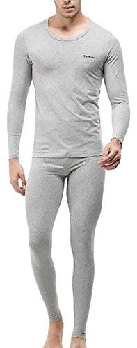 today-UK Men's Heat Retention Warm Thermal Long Underwear Set Light Grey