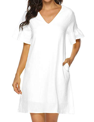 FANCYINN Women's Cute Shift Dress with Pockets Fully Lined Bell Sleeve V Neck Loose Swing Tunic Mini Dress White XL